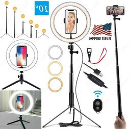 "10"" LED Ring Light Lamp Phone Selfie Camera Studio Video Dim"