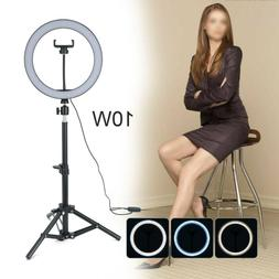 "10"" LED Ring Light w/Stand & Mount Camera Phone Studio Selfi"