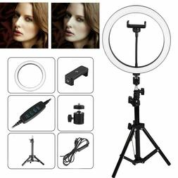 """10"""" LED Ring Light w/Stand & Mount Kit for Camera Phone Self"""