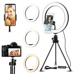 "10"" LED Ring Light with Tripod Stand & Phone Holder Dimmable"