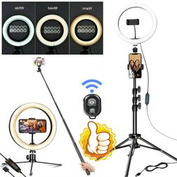 10'' Selfie Desktop LED Ring Light W/ Tripod Phone Holder fo
