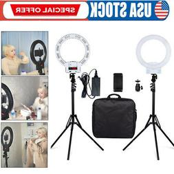 """12""""LED SMD Ring Light Kit With Stand Dimmable Bi-color For C"""