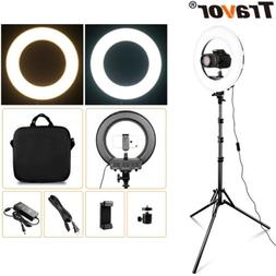 """14"""" LED Ring Light Kit with Stand Dimmable 3200K-5600K for M"""