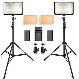 LED Video Light Kit with 2M Light Stand, SAMTIAN 2-Pack Dimm