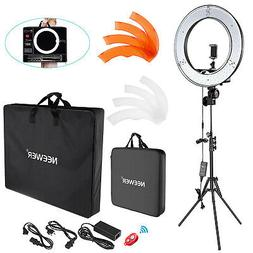 "Neewer 18"" 55W Dimmable LED Ring Light Kit with Enlarged Car"