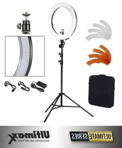 """ULTIMAXX 18"""" Dimmable LED Ring Light 240 SMD 5600K Kit with"""