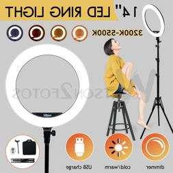 19''LED SMD Ring Light Kit with Stand Dimmable 5500K for Mak