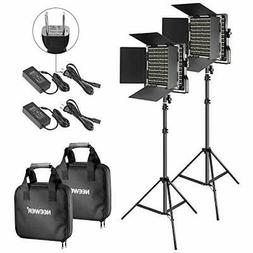 Neewer 2 pack dichromatic 660 LED video light and stand Kit