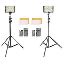 Neewer 2-Pack Dimmable 216 LED Video Light Kit with Light St