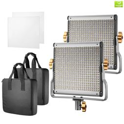 Neewer 2 Packs Dimmable Bi-Color 480 LED with U Bracket Prof