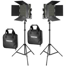 Neewer 2 Pieces Bi-color 660 LED Video Light Stand Kit Video
