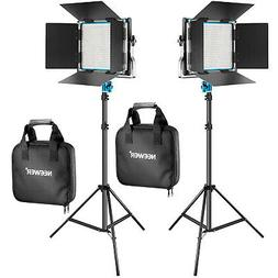 Neewer 2 Pieces Bi-color Dimmable 660 LED Video Light with B