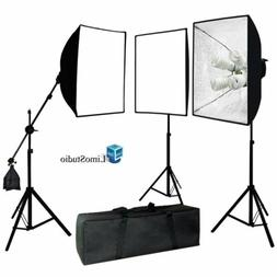 2400W LimoStudio Photography 3 Softbox Light Stand Continuou