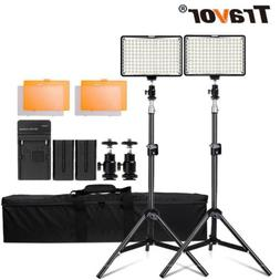2PCS/Kits Dimmable LED Video Light Camera Photo Studio + Lig