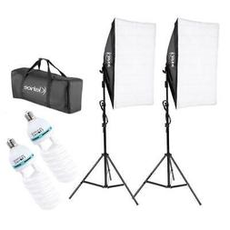 2Pcs Softbox Stand Photography Photo Set 135W Bulb Single He