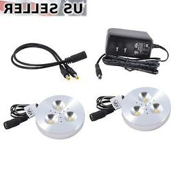 2X ABI 3W LED Puck Light Kit for Kitchen Bookshelf Showcase,