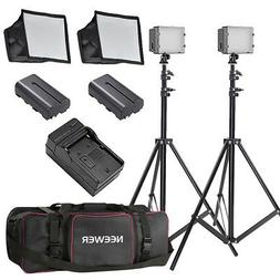 Neewer 2x160 LED Dimmable Video Lighting Kit with Stand and
