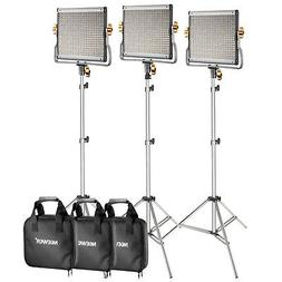 Neewer 3-Pack Dimmable Bi-color 480 LED Video Light with Lig