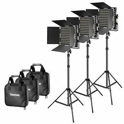 Neewer 3 Pieces Bi-Color 660 LED Video Light and Stand Kit I