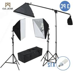 3 Softbox 2400W Photo Studio Photography Light Stand Continu
