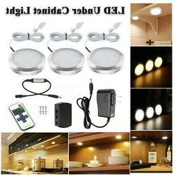 3PCS LED Under Cabinet Light Dimmable Closet Puck Lamp Home
