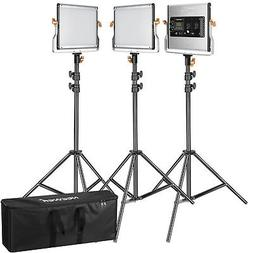 Neewer 3pcs Studio Dimmable Bi-color 480 LED Video Light and