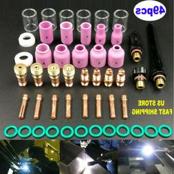 49 Pcs/Kit TIG Welding Torch Stubby Gas Lens #10 Pyrex Glass