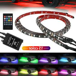 4Pcs RGB 48 LED Strip Under Car Tube Underglow Underbody Sys