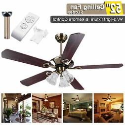 "52"" Ceiling Fan Light Kit Remote Control Reversible Restaura"