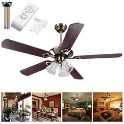 "52"" 5 Blades Ceiling Fan with Light Kit Antique Bronze Rever"
