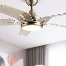 "56"" Contemporary Ceiling Fan Brushed Nickel LED Light Kit Re"