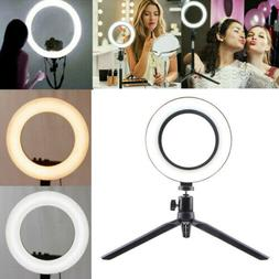 "6"" Dimmable 5500K LED Ring Light Kit with Stand for Makeup P"