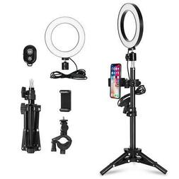 "6"" Dimmable LED Ring Light Kit 2800K-5500K for Makeup Selfie"