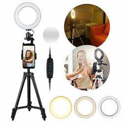 6'' LED SMD Ring Light Kit With Stand Dimmable 5500K For Cam