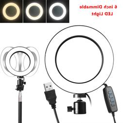 6'' LED SMD Ring Light Kit & Stand Dimmable 5500K For Camera