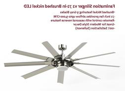 Fanimation 72 inch Brushed Nickel Ceiling Fan 9 Blade LED Li