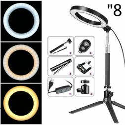 "8"" LED Ring Light Kit With Stand Dimmable Makeup Phone Camer"