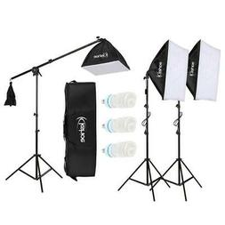 "86"" Photography Studio 3 Soft Box Light Stand Continuous Lig"