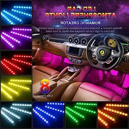 Car LED Strip Light, Wsiiroon 4pcs 48 LED Multicolor Music C