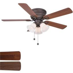 Clarkston 44 In. Oiled Rubbed Bronze Ceiling Fan with Light