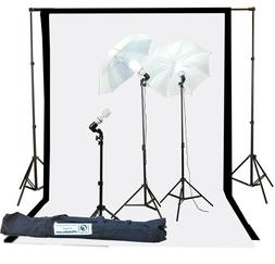 Fancierstudio 1000watt Lighting Kit Black White Muslin Backd