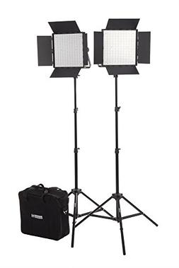 Fovitec StudioPRO - 2x Daylight 600 LED Panel Bundle w/Barnd