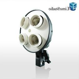 LimoStudio 4 Socket Photo Bulb Adapter - Converts 1 Socket i