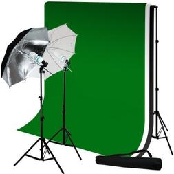 Limostudio Photo Studio 10'X12' Muslin Black White Green Chr