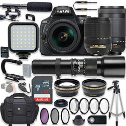 Nikon D5600 24.2 MP DSLR Camera Video Kit +  Lenses + LED Li