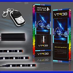 OCPTY 6Pack Motorcycle LED Light Kit Strips with Remote Cont
