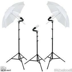 Photo Equipment Studio Umbrella Triple Lighting Light Kit