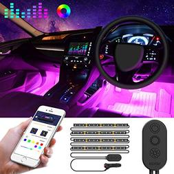 Unifilar Car LED Strip Light, MINGER APP Controller Car Inte
