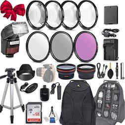 58mm 28 Pc Accessory Kit for Canon EOS Rebel T6, T5, T3, 130