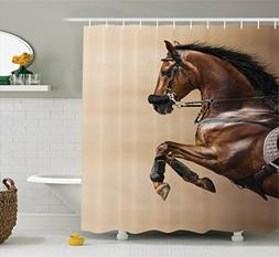 Ambesonne Animal Decor Collection, Chestnut Color Horse Jump